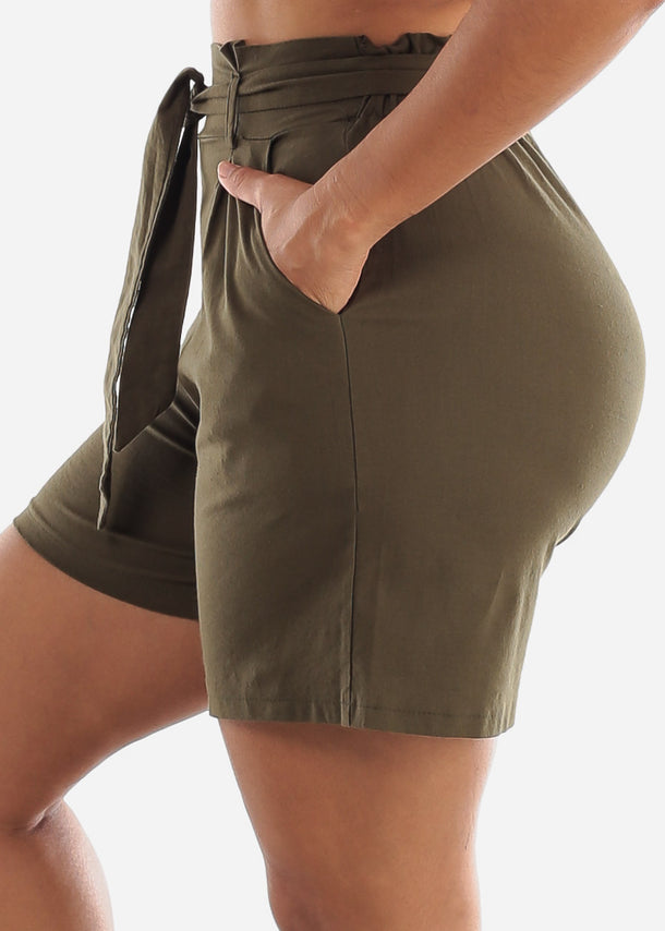 Belted Cotton Olive Shorts