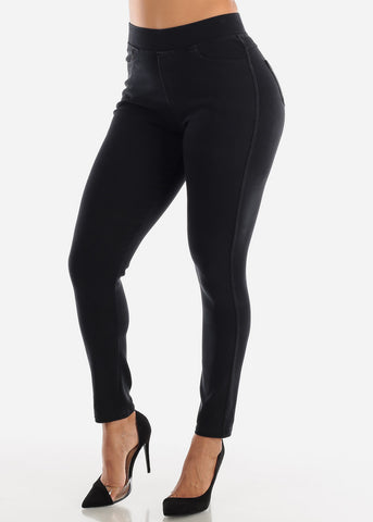 Image of Pull On Black Skinny Pants