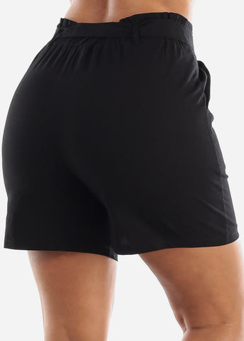 Image of Belted Linen Black Shorts