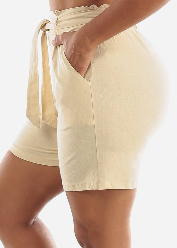 Belted Cotton Natural Shorts