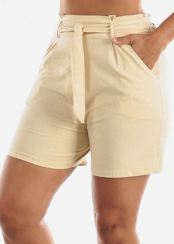 Image of Belted Linen Natural Shorts