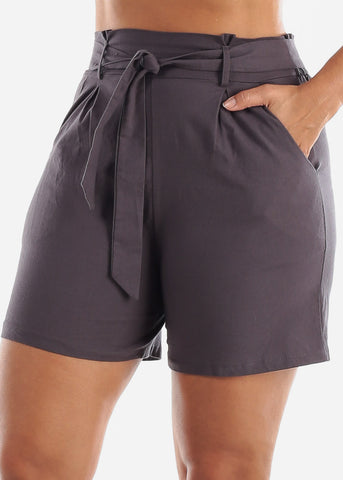 Image of Belted Linen Charcoal Shorts