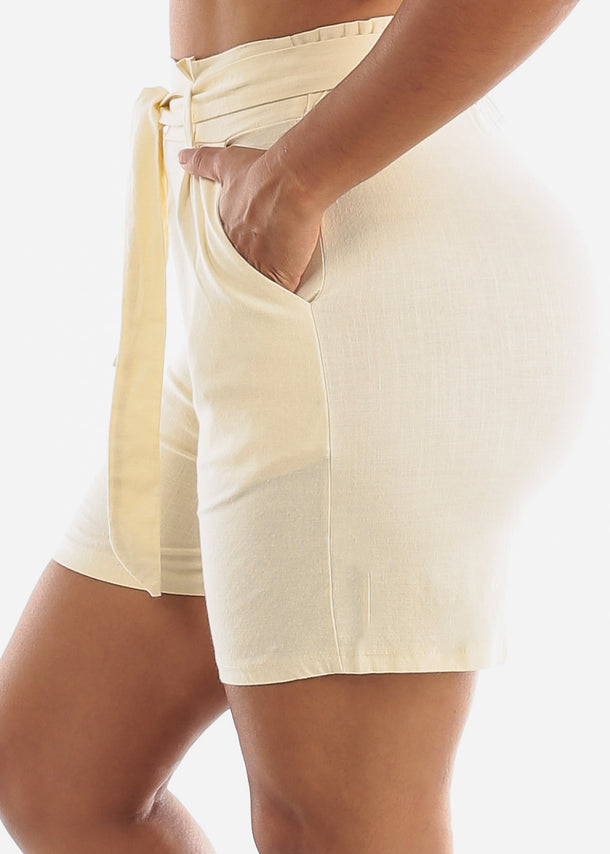 Belted Cotton Ivory Shorts