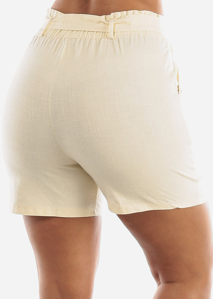 Belted Linen Ivory Shorts