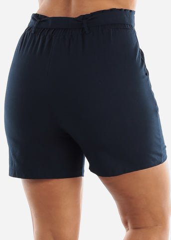 Image of Belted Linen Navy Shorts