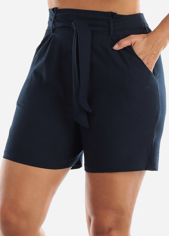 Belted Linen Navy Shorts