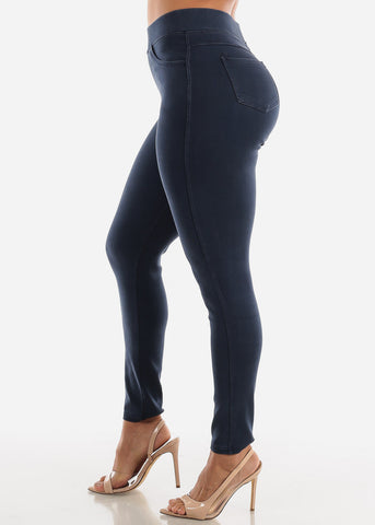 Pull On Navy Skinny Pants