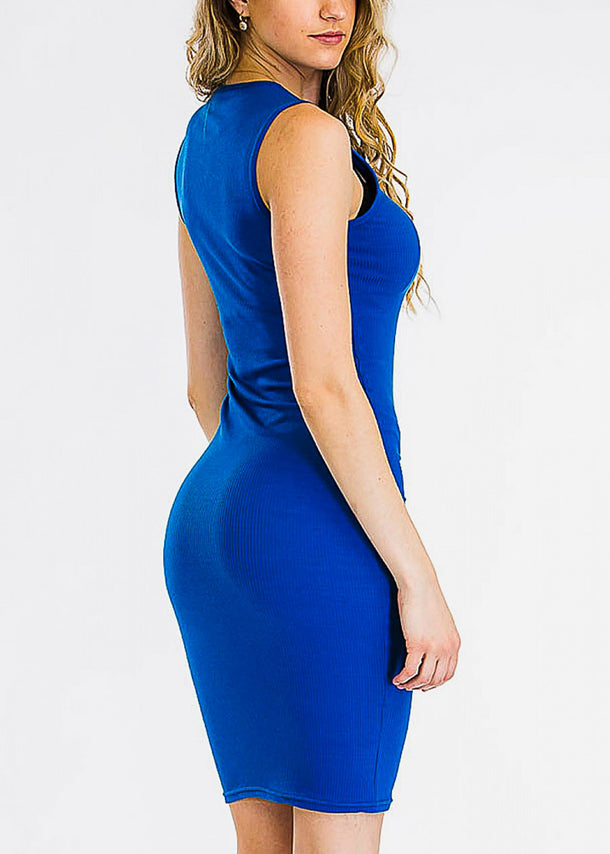 Sleeveless Bodycon Blue Dress