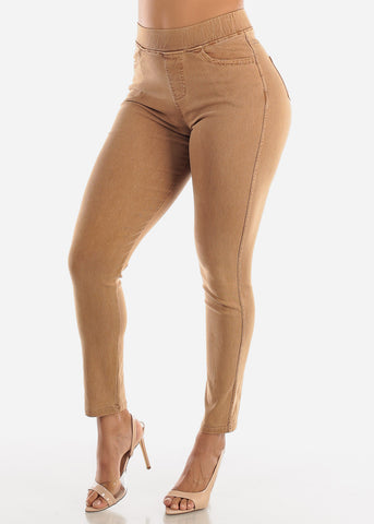 Image of Pull On Mocha Skinny Pants