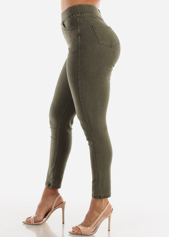 Image of Pull On Olive Skinny Pants