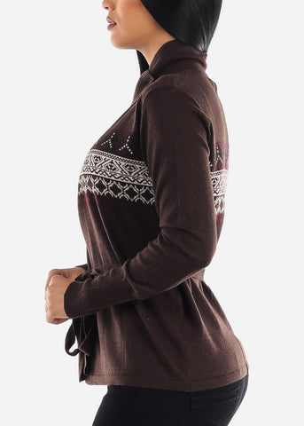 Image of Brown Printed Cardigan with Belt