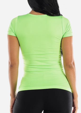 Image of One Size Neon Green V Neck Top