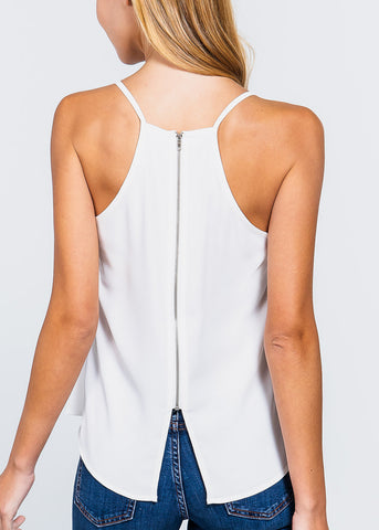 White Zipper Detail Top