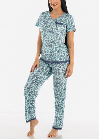 Blue Printed Top & Pants Sleeping Set