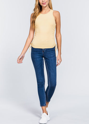 Yellow Ruched Drawstring Top