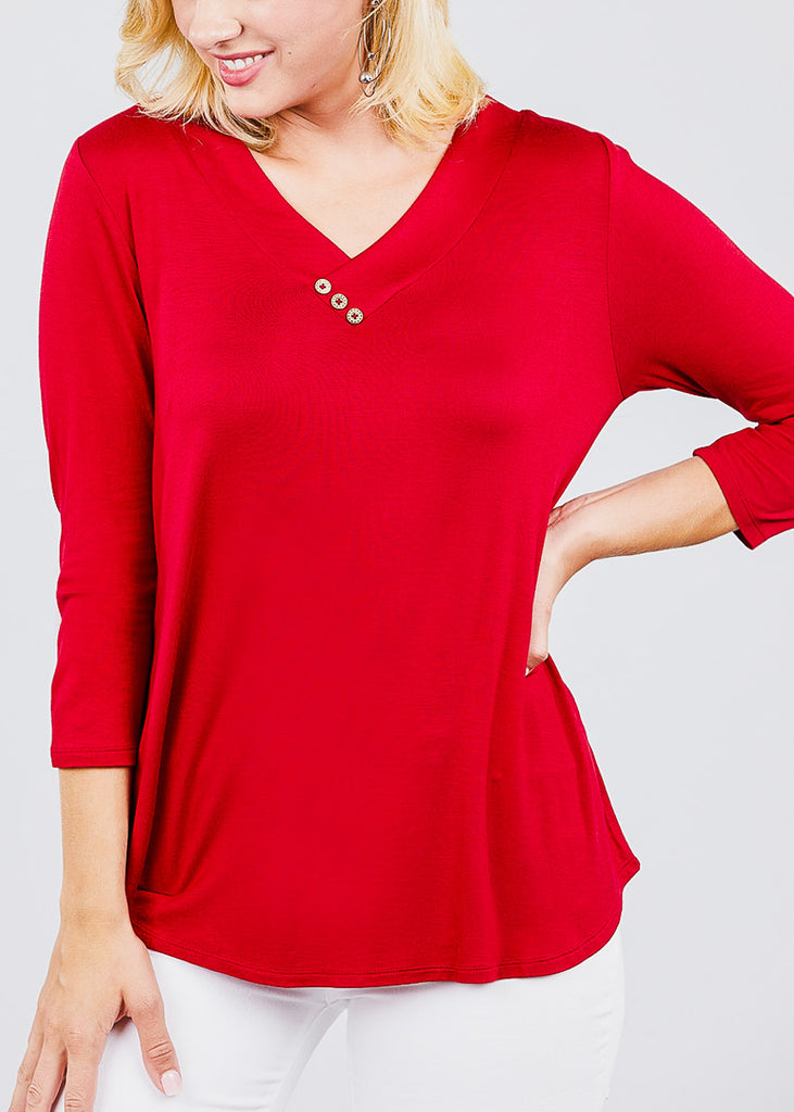 V-Neck 3/4 Sleeve Red Tunic Top