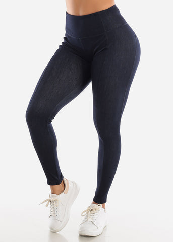 Image of Activewear Pull On Navy Leggings
