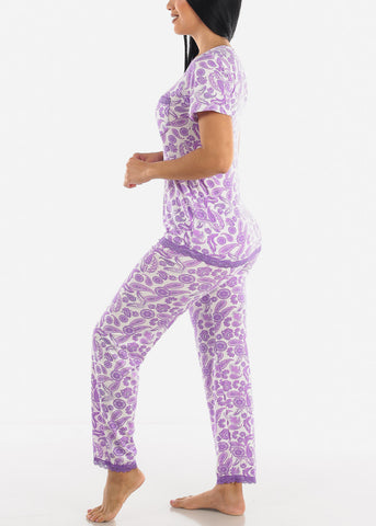 Purple Printed Top & Pants Sleeping Set