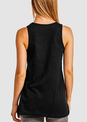 Black Loose Fit Jersey Tank Top