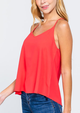 Coral Zipper Detail Top