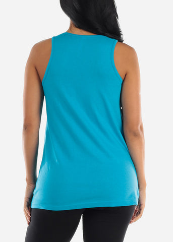Image of Turquoise Loose Fit Jersey Tank Top