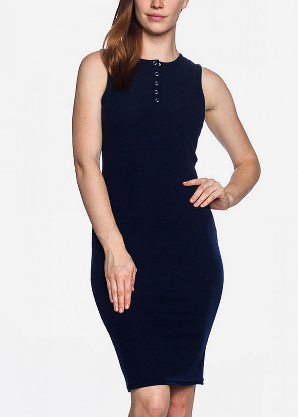 Sleeveless Bodycon Navy Dress