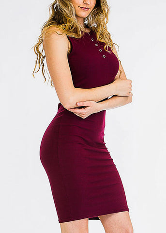 Sleeveless Bodycon Burgundy Dress