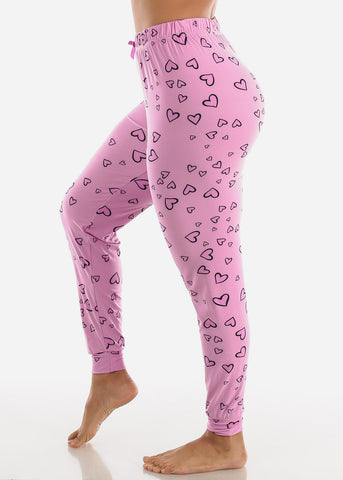 Image of Pink Printed Pajama Pants