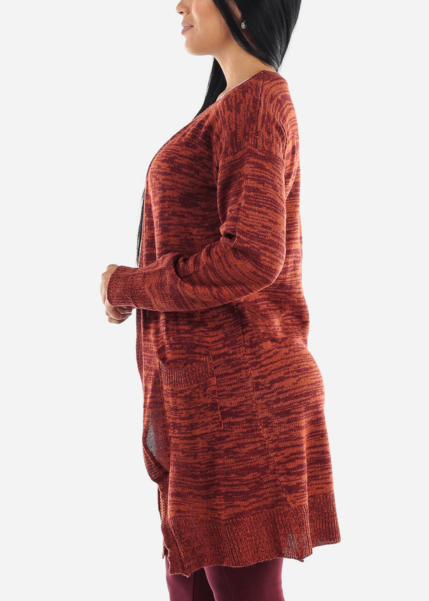 Heather Coral Wine Knitted Maxi Cardigan