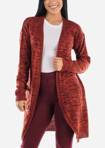 Image of Heather Coral Wine Knitted Maxi Cardigan