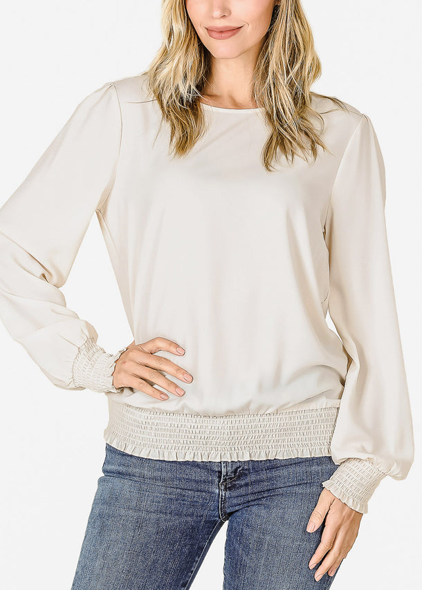Long Sleeve Taupe Chiffon Blouse