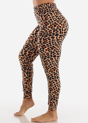 Brown Animal Print Pajama Pants