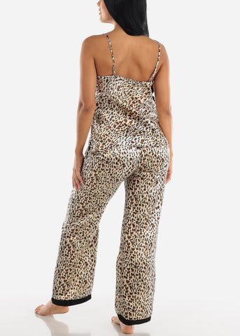 Satin Animal Print Cami & Pants (2 PCE PJ SET)