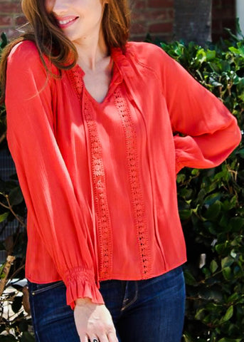 Image of Tie Neckline Orange Lightweight Top
