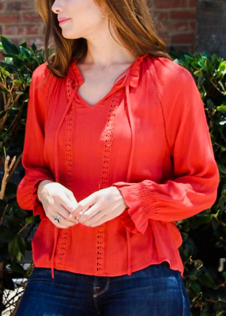 Tie Neckline Orange Lightweight Top
