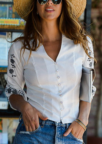 Image of Button Down White Crochet Shirt