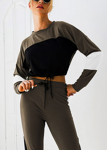 Image of Olive Colorblock Crop Top & Jogger Pants (2 PCE SET)