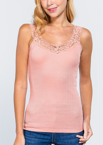 Lace Detail Pink Tank Top