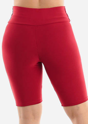 Image of Red Button Detail Shorts