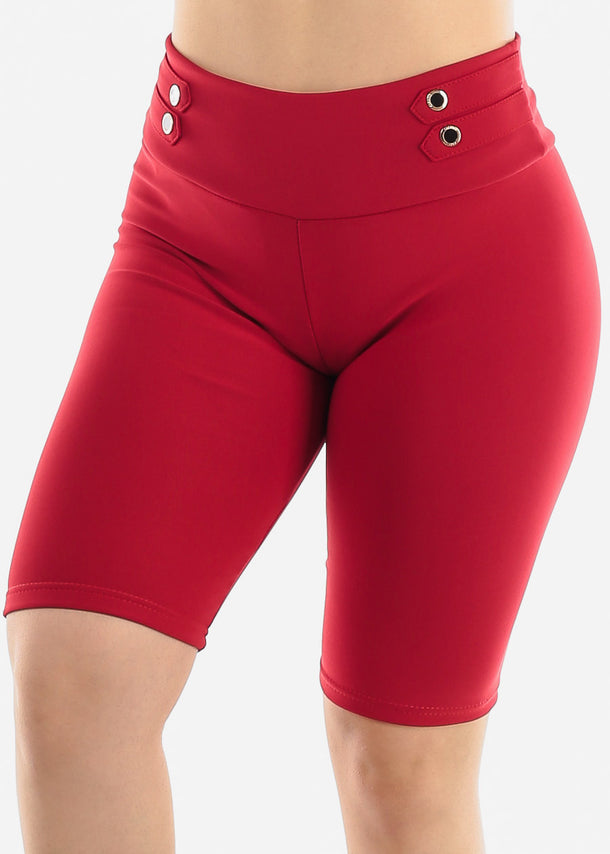 Red Button Detail Shorts