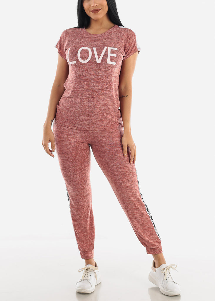 """Love"" Red Top & Joggers ( 2 PCE SET )"