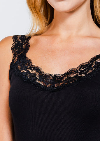 Lace Detail Black Tank Top