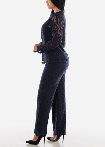 Image of Navy Floral Lace Blazer & Pants (2 PCE SET)