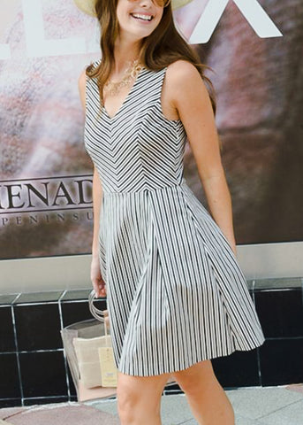 Sleeveless Black & White Stripe Dress