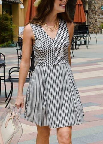 Image of Sleeveless Black & White Stripe Dress