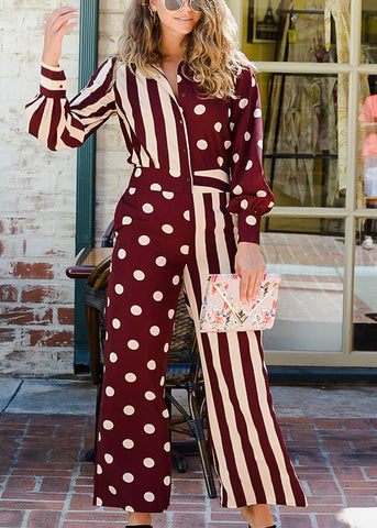 Image of Half Button Down Printed Burgundy Jumpsuit