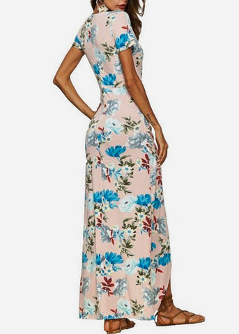 Image of Wrap Front Floral Pink Maxi Dress