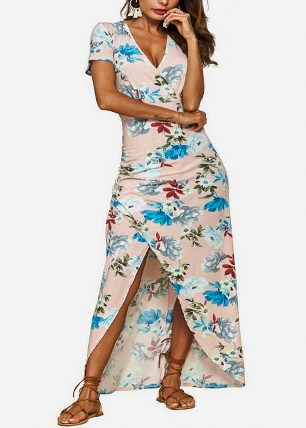 Wrap Front Floral Pink Maxi Dress