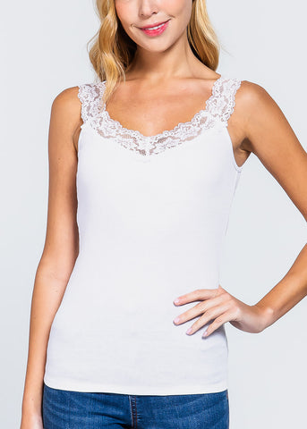 Lace Detail White Tank Top