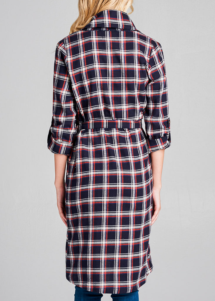 Navy Plaid Trench Jacket
